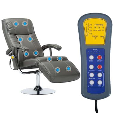 vidaXL Masažinis krėslas, pilkos spalvos, dirbtinė oda[3/10]