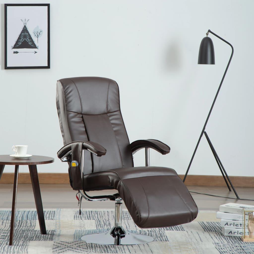 vidaXL Fotel masujący, brązowy, sztuczna skóra