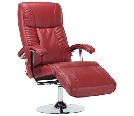 vidaXL Masažinis krėslas, raudonojo vyno spalvos, dirbtinė oda
