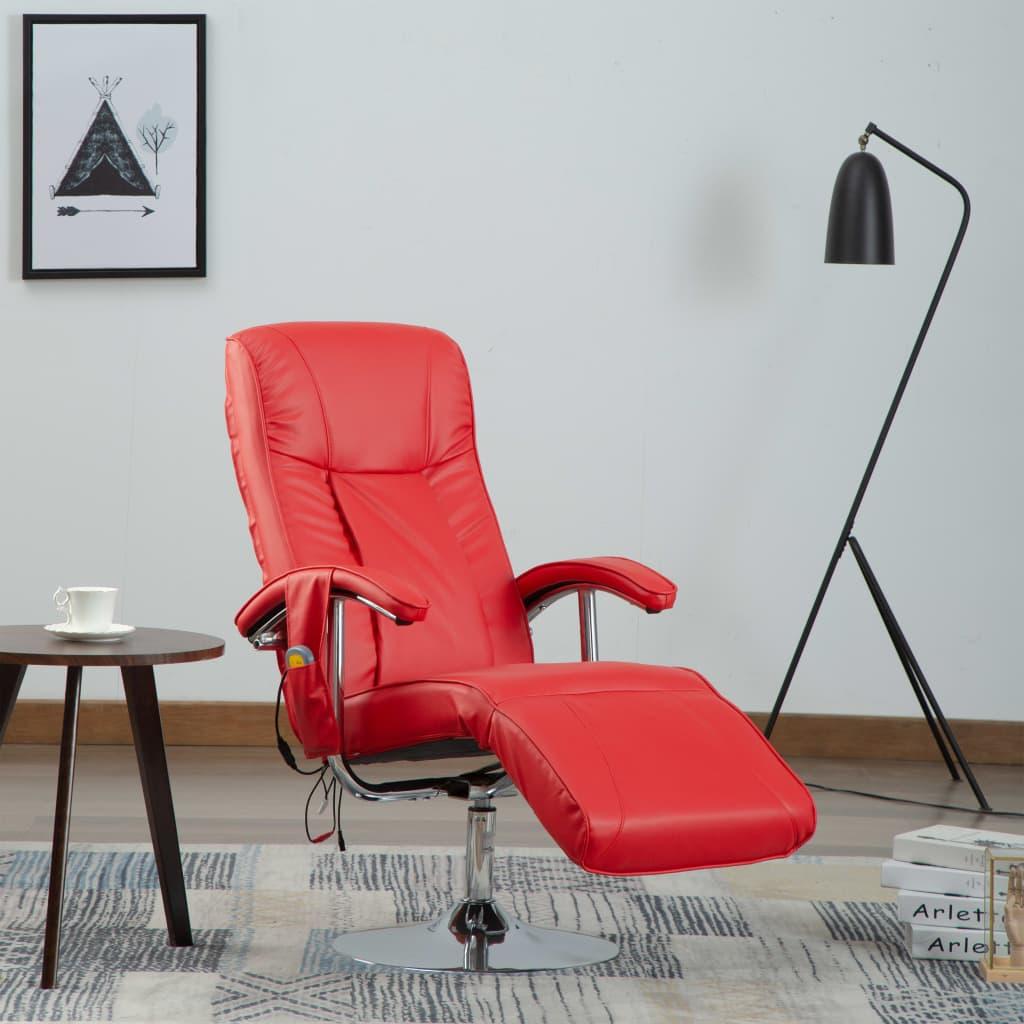 vidaXL Fotel masujący, czerwony, sztuczna skóra