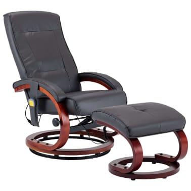 vidaXL Masažni fotelj s stolčkom za noge siv iz umetnega usnja[2/13]