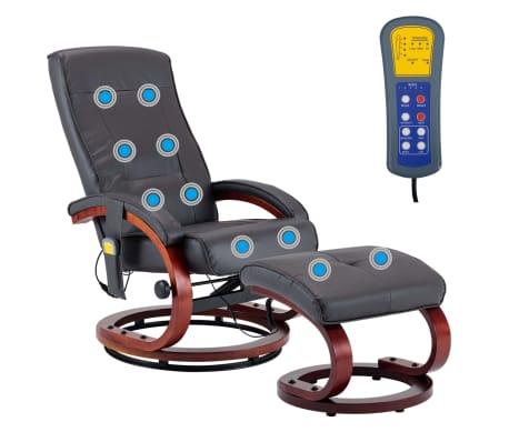 vidaXL Masažni fotelj s stolčkom za noge siv iz umetnega usnja[4/13]