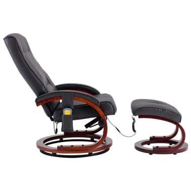 vidaXL Masažni fotelj s stolčkom za noge siv iz umetnega usnja[3/13]