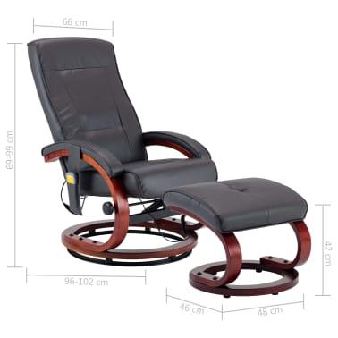 vidaXL Masažni fotelj s stolčkom za noge siv iz umetnega usnja[13/13]
