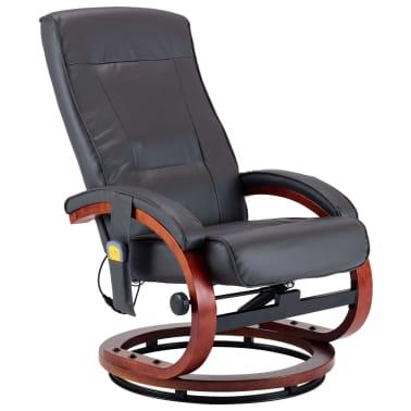 vidaXL Masažni fotelj s stolčkom za noge siv iz umetnega usnja[5/13]