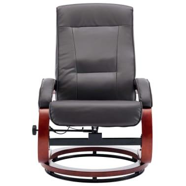 vidaXL Masažni fotelj s stolčkom za noge siv iz umetnega usnja[6/13]