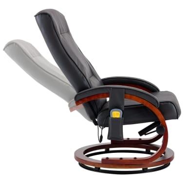 vidaXL Masažni fotelj s stolčkom za noge siv iz umetnega usnja[8/13]