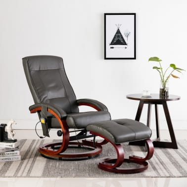 vidaXL Masažni fotelj s stolčkom za noge siv iz umetnega usnja[1/13]