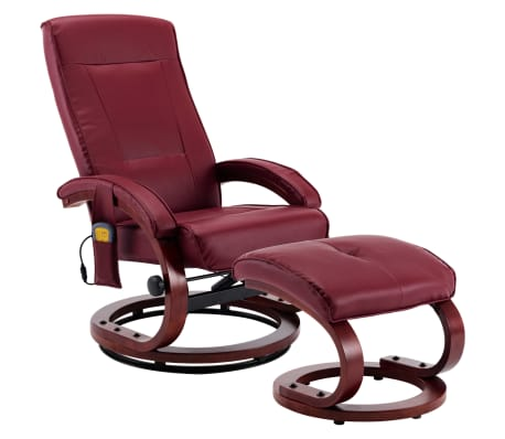 vidaXL Atloš. masažinis krėslas su pakoja, raud. vyno sp., dirbt. oda[2/13]