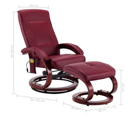 vidaXL Atloš. masažinis krėslas su pakoja, raud. vyno sp., dirbt. oda[13/13]