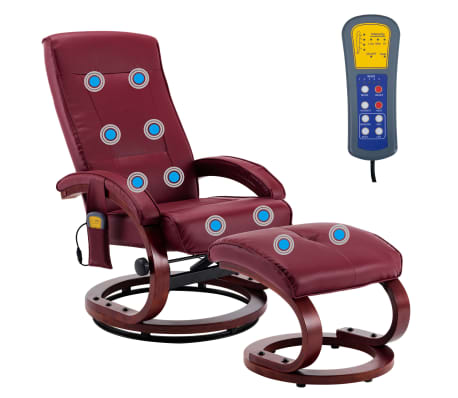 vidaXL Atloš. masažinis krėslas su pakoja, raud. vyno sp., dirbt. oda[4/13]