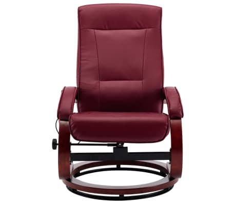 vidaXL Atloš. masažinis krėslas su pakoja, raud. vyno sp., dirbt. oda[6/13]