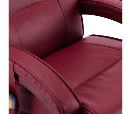 vidaXL Atloš. masažinis krėslas su pakoja, raud. vyno sp., dirbt. oda[10/13]