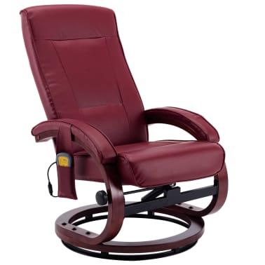 vidaXL Atloš. masažinis krėslas su pakoja, raud. vyno sp., dirbt. oda[5/13]