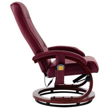 vidaXL Atloš. masažinis krėslas su pakoja, raud. vyno sp., dirbt. oda[7/13]