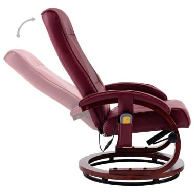 vidaXL Atloš. masažinis krėslas su pakoja, raud. vyno sp., dirbt. oda[8/13]