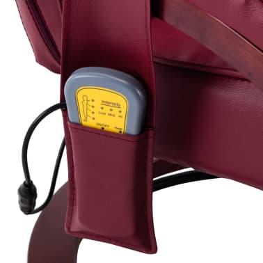 vidaXL Atloš. masažinis krėslas su pakoja, raud. vyno sp., dirbt. oda[11/13]