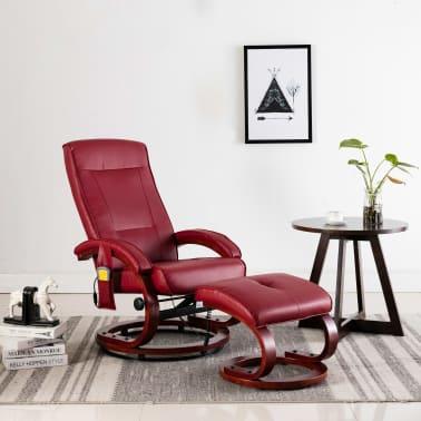 vidaXL Atloš. masažinis krėslas su pakoja, raud. vyno sp., dirbt. oda[1/13]