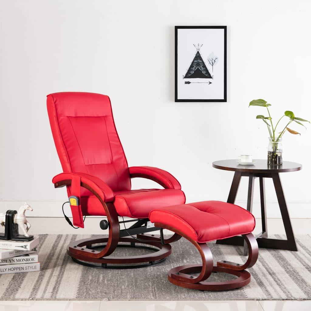 vidaXL Fotoliu de masaj rabatabil cu taburet, roșu, piele ecologică imagine vidaxl.ro
