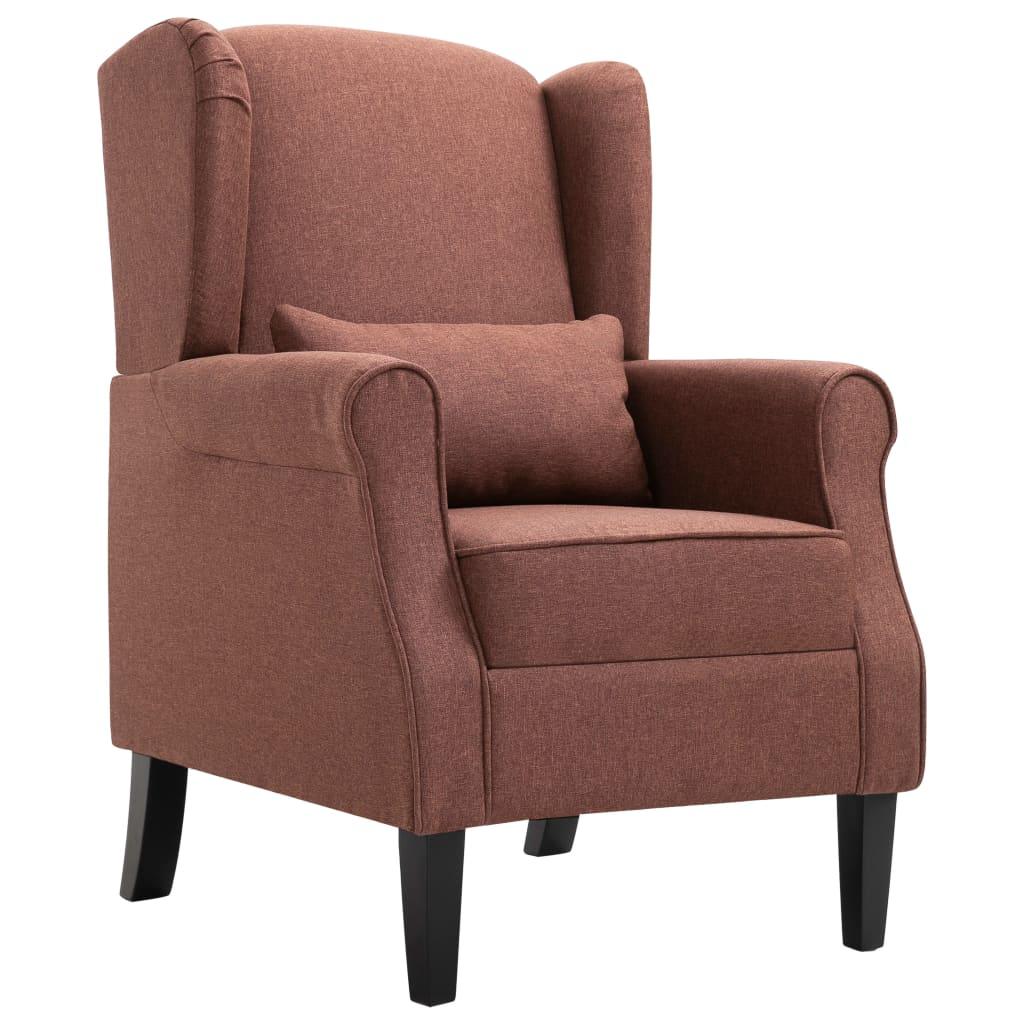 vidaXL Fotel brązowy, tapicerowany tkaniną