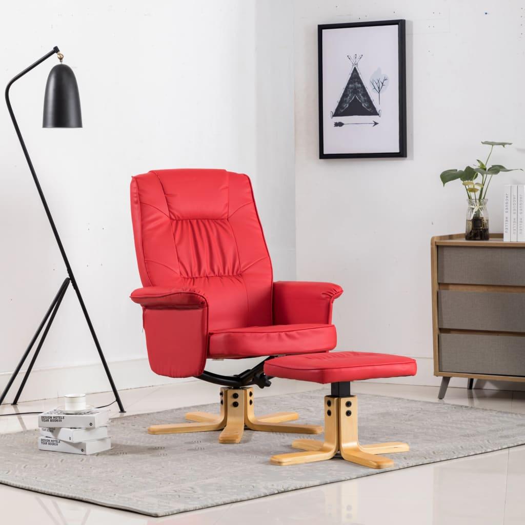 vidaXL Fotoliu cu taburet, roșu, piele ecologică imagine vidaxl.ro