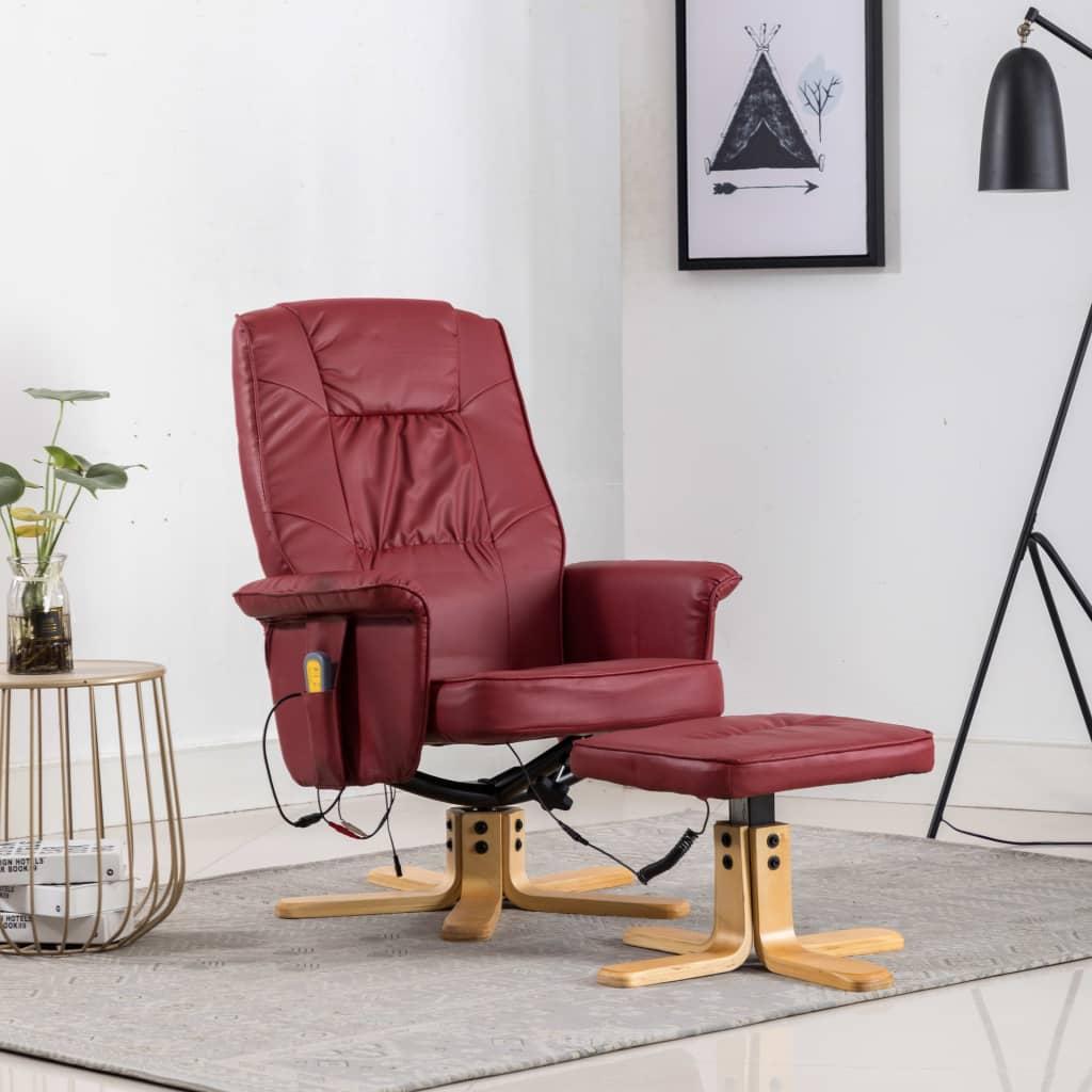vidaXL Fotel do masażu z podnóżkiem, regulowany, kolor wina, ekoskóra