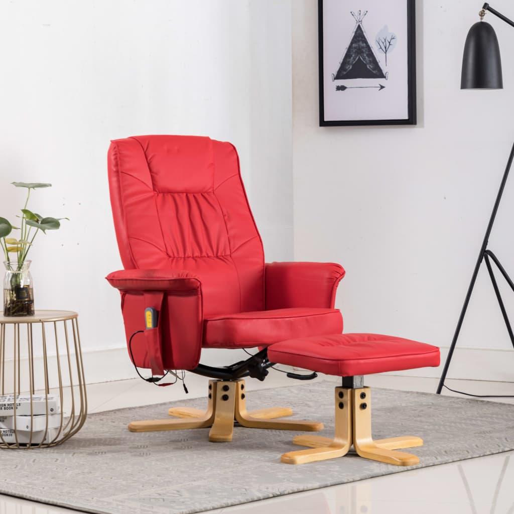 vidaXL Fotoliu de masaj rabatabil cu taburet, roșu, piele ecologică poza vidaxl.ro