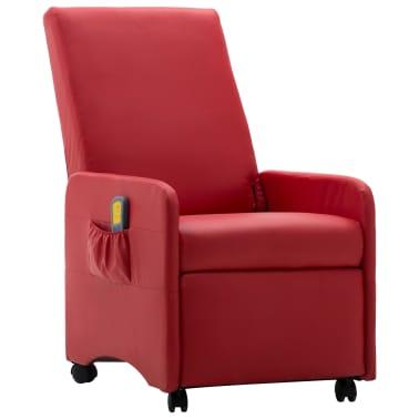 vidaXL Atlošiamas masažinis krėslas, raudonas, dirbtinė oda[2/9]