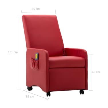 vidaXL Atlošiamas masažinis krėslas, raudonas, dirbtinė oda[9/9]