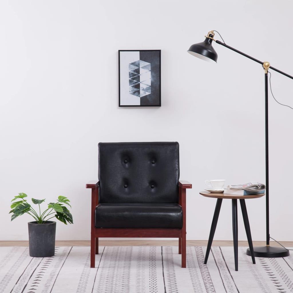 vidaXL Fotel telewizyjny, czarny, sztuczna skóra
