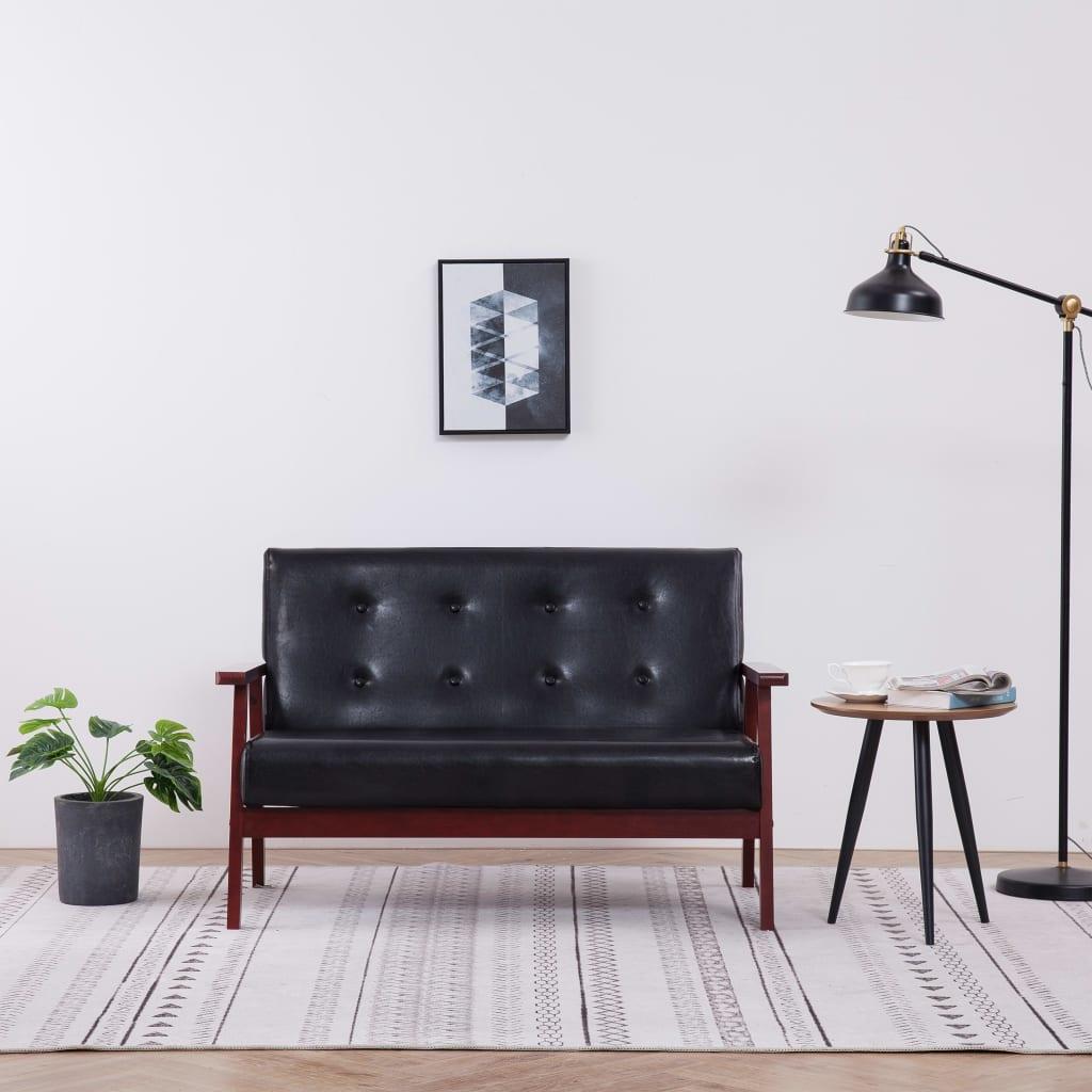 2místná sedačka černá umělá kůže