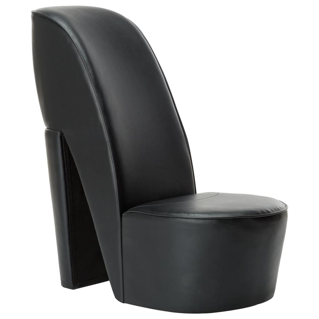 vidaXL Scaun, design toc înalt, negru, piele ecologică poza vidaxl.ro