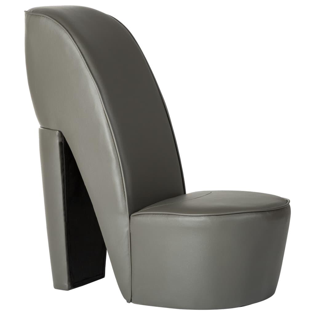 vidaXL Stolica u obliku visoke pete od umjetne kože siva