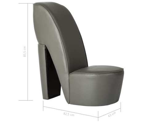 vidaXL Chaise en forme de chaussure à talon haut Gris Similicuir