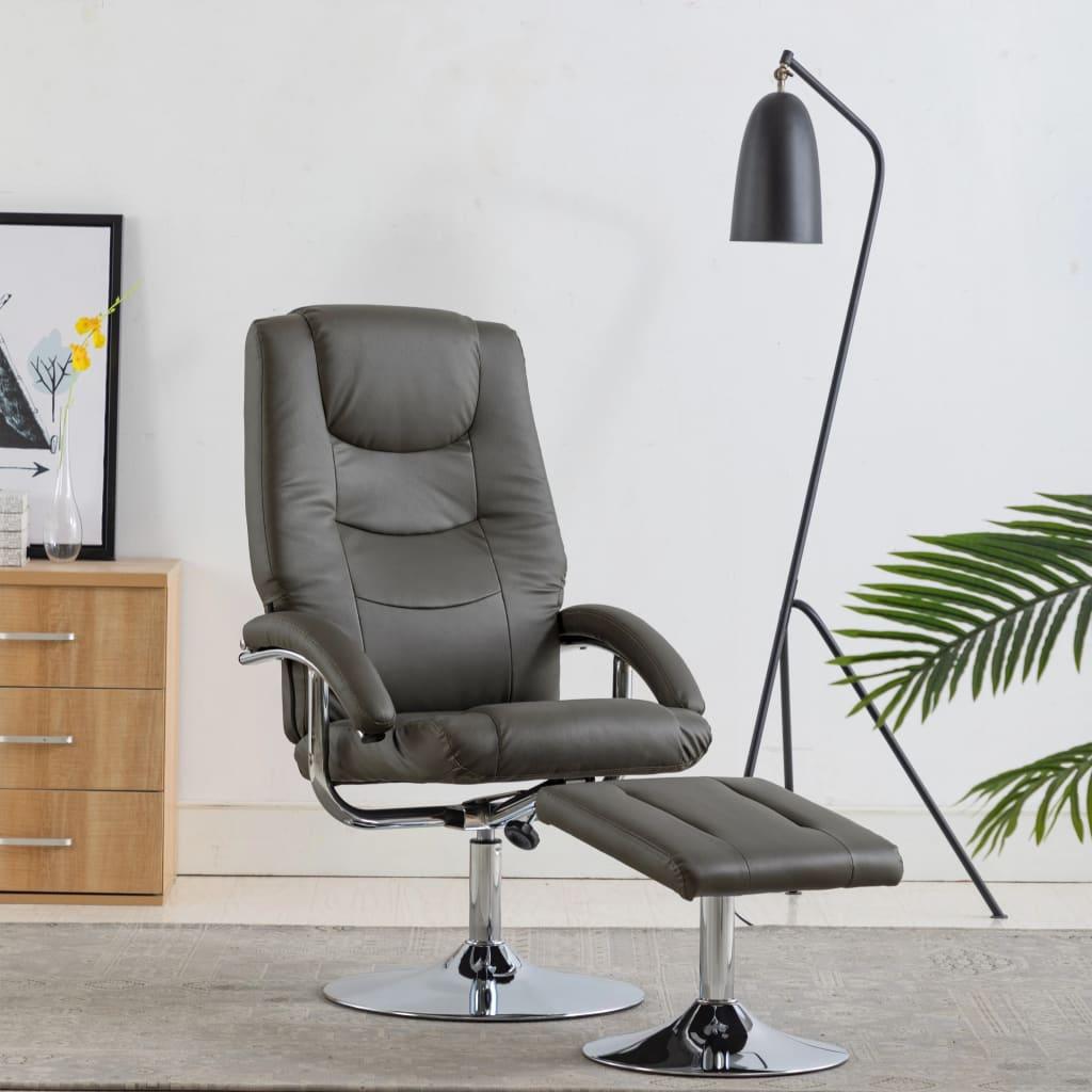 vidaXL Rozkładany fotel z podnóżkiem, szary, sztuczna skóra