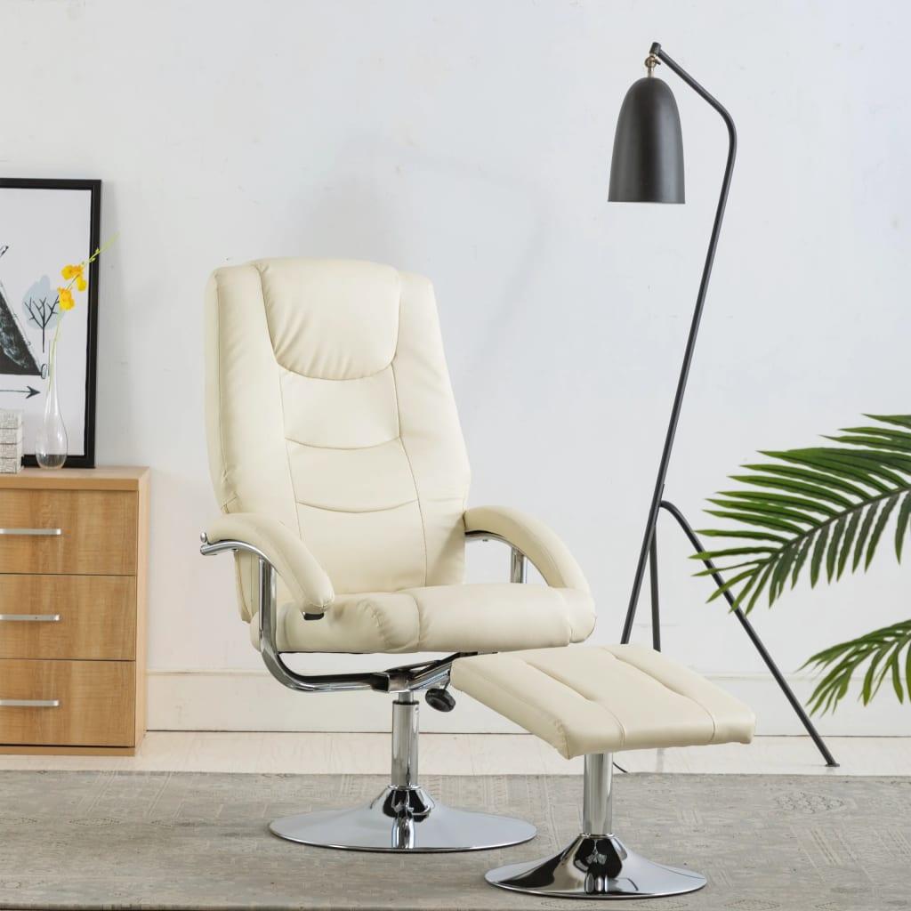 vidaXL Rozkładany fotel z podnóżkiem, kremowa biel, sztuczna skóra