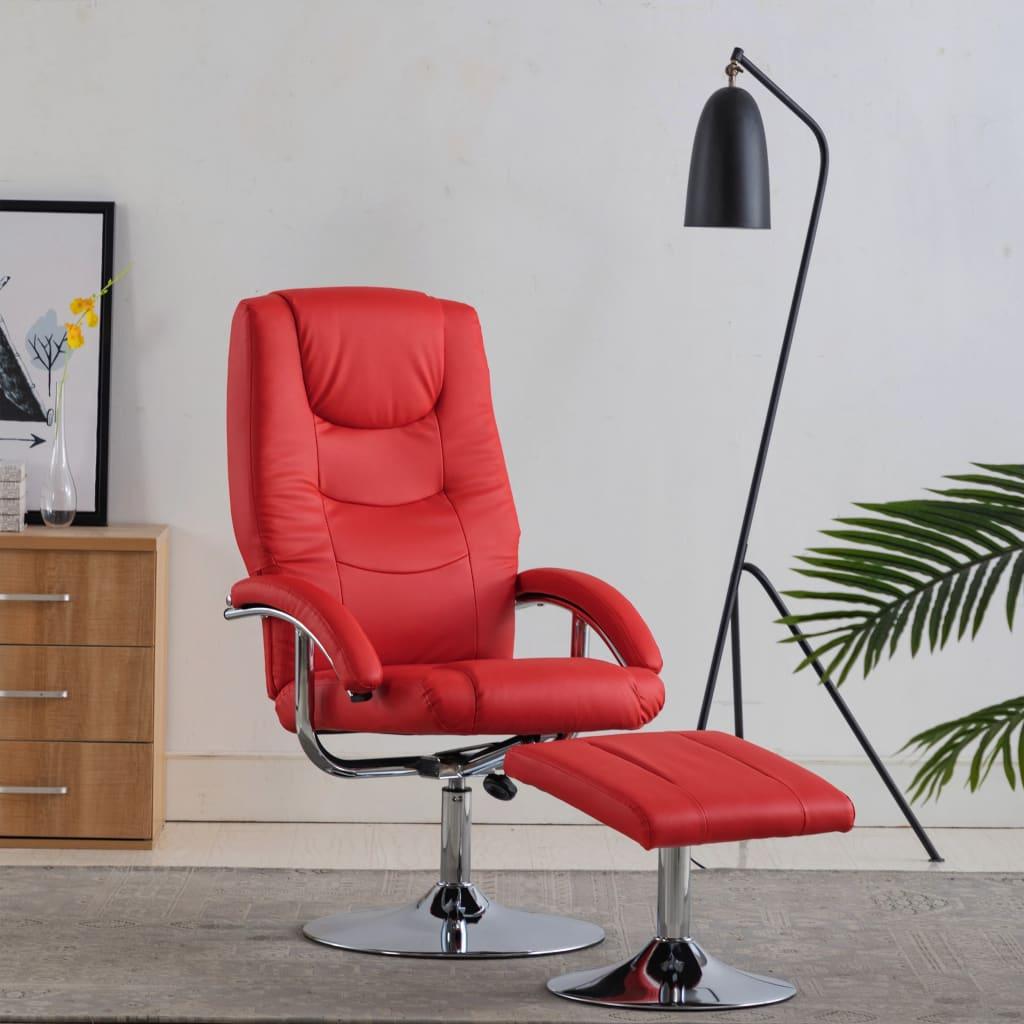 vidaXL Rozkładany fotel z podnóżkiem, czerwony, sztuczna skóra