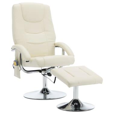 vidaXL Masažni fotelj s stolčkom za noge kremno bel iz umetnega usnja[2/10]