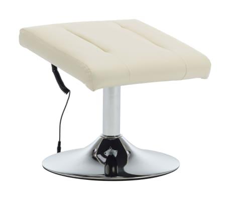 vidaXL Masažni fotelj s stolčkom za noge kremno bel iz umetnega usnja[7/10]
