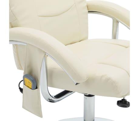 vidaXL Masažni fotelj s stolčkom za noge kremno bel iz umetnega usnja[8/10]