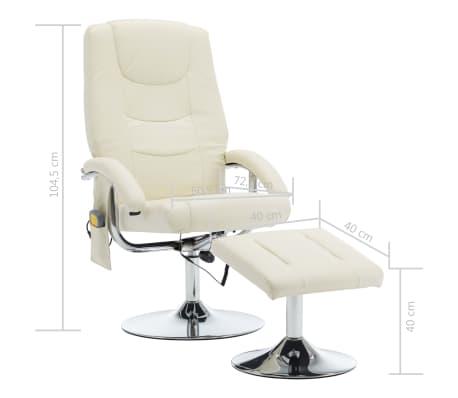 vidaXL Masažni fotelj s stolčkom za noge kremno bel iz umetnega usnja[10/10]