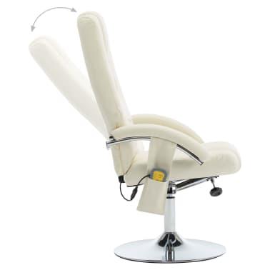 vidaXL Masažni fotelj s stolčkom za noge kremno bel iz umetnega usnja[4/10]