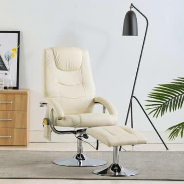 vidaXL Masažni fotelj s stolčkom za noge kremno bel iz umetnega usnja[1/10]