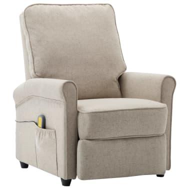 vidaXL Električni masažni fotelj iz krem blaga[2/9]
