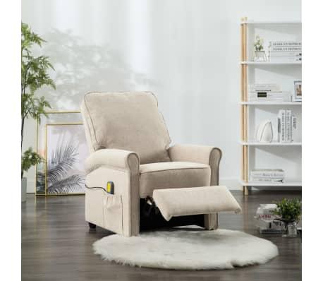 vidaXL Električni masažni fotelj iz krem blaga[3/9]