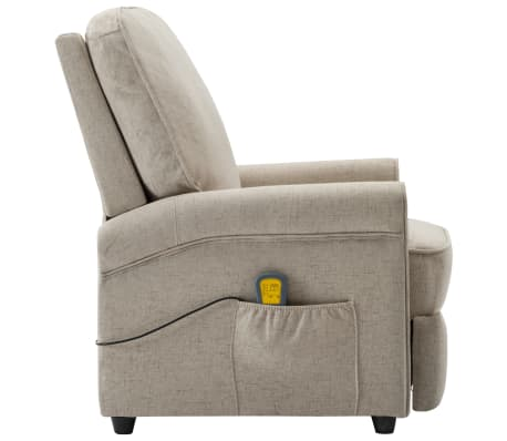 vidaXL Električni masažni fotelj iz krem blaga[5/9]