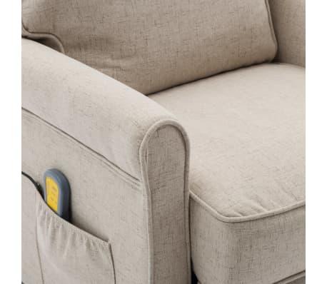 vidaXL Električni masažni fotelj iz krem blaga[7/9]