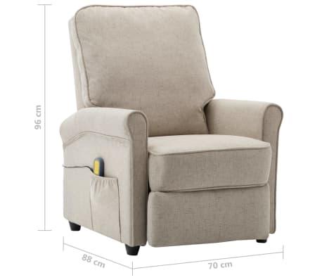 vidaXL Električni masažni fotelj iz krem blaga[9/9]