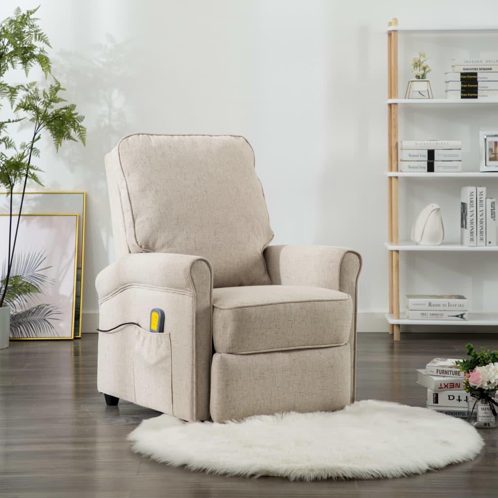 vidaXL Masažna fotelja od tkanine krem