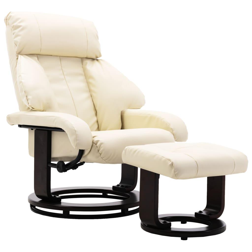 vidaXL Πολυθρόνα Ανακλινόμενη Λευκό Κρεμ Συνθετικό Δέρμα με Υποπόδιο